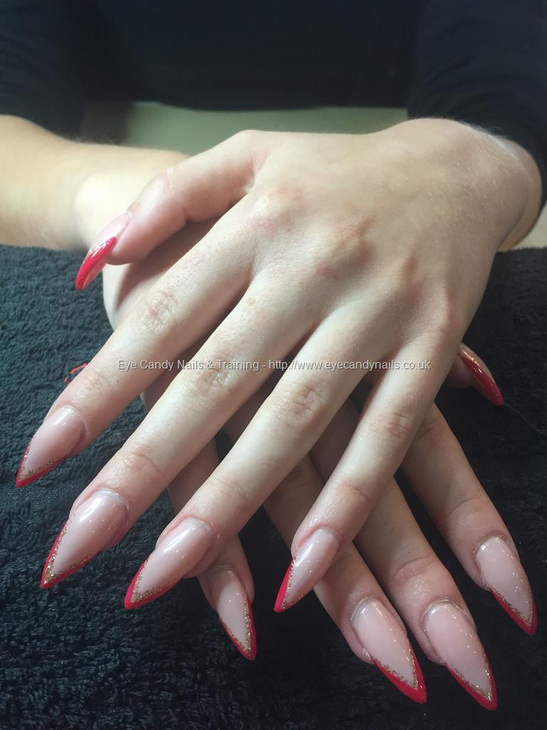 Dev Guy Sculpted Stiletto Nails Bare Chemise Gel Polish With Red
