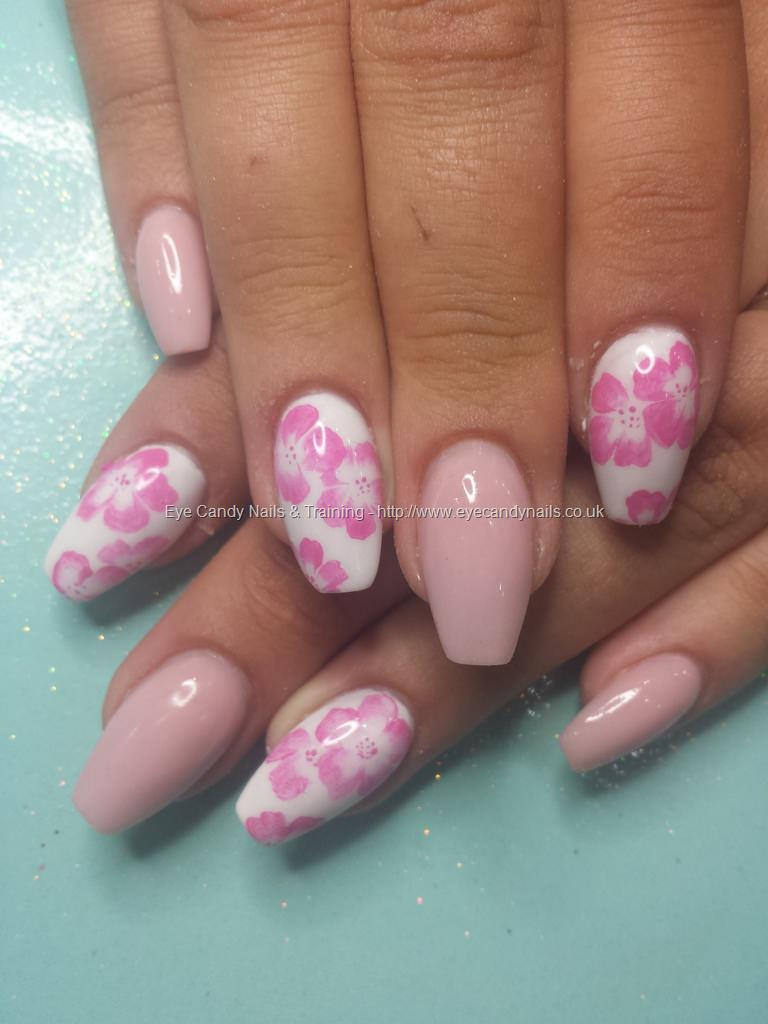 Dev Guy Cover Pink Acrylic With Freehand One Stroke Flower Nail