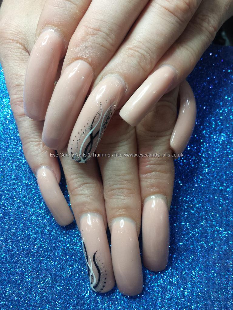 Dev Guy - Nude Acrylic Overlays On Natural Nails With Freehand Nail ...