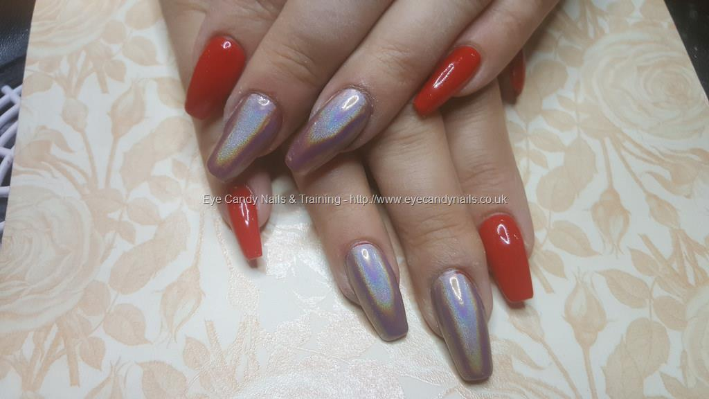 Dev Guy Acrylic Nails With Red Gel Polish And Hohographic Chrome Nail Technician Nicola Senior On 18 February 2017 At 10 35