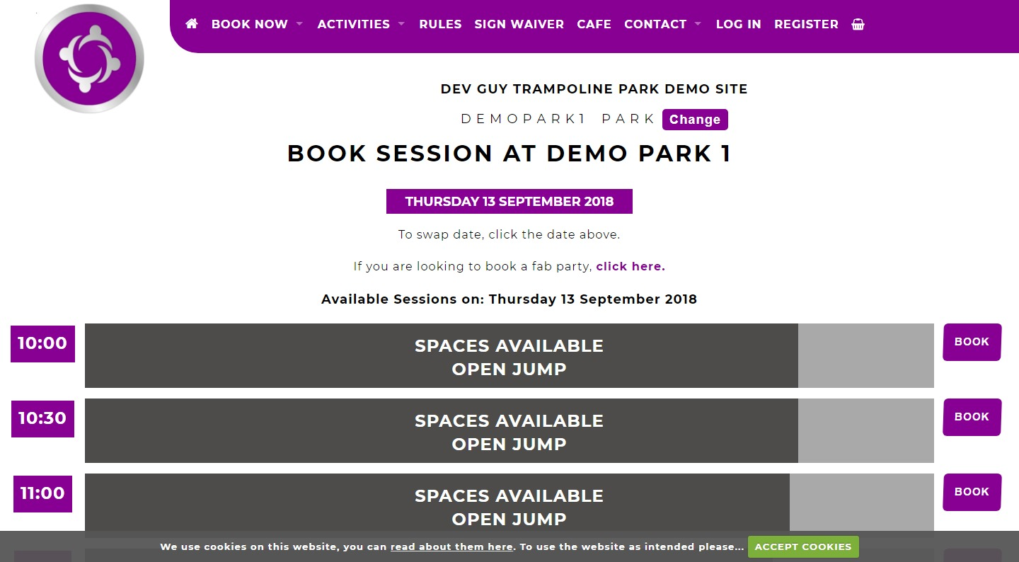 Trampoline Park Booking Select A Slot Screenshot