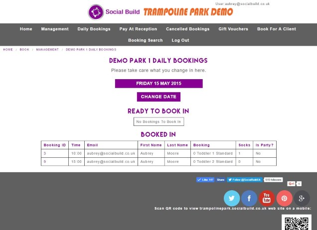 Trampoline Park Management Screen Daily Bookings Screenshot